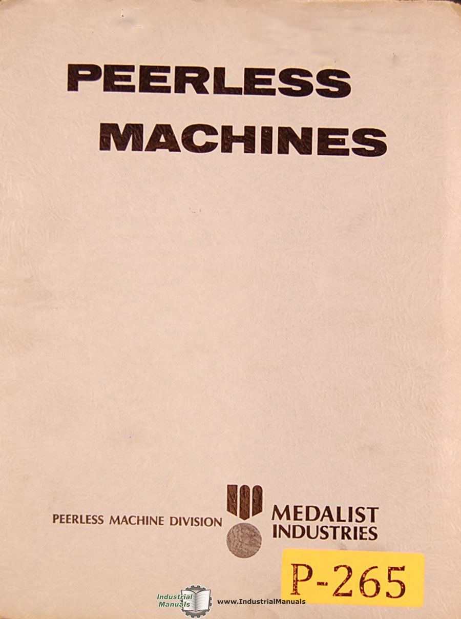Peerless MH Series, Contour Band Saw Machine, Operations Service and