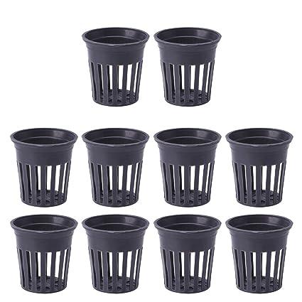 Dabixx 10 cestas de plástico para acuario, plantas acuáticas, hierba cultivada, color negro
