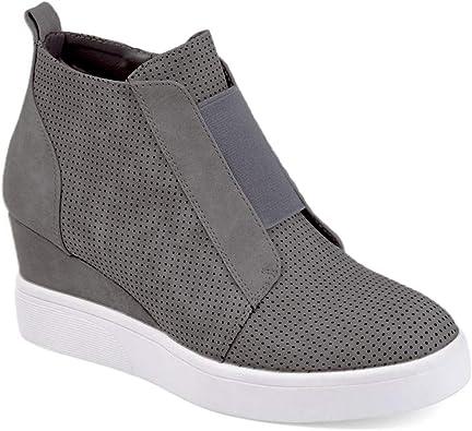 New Women Casual Suede High Mid Heels Hidden Wedges Slip On Platform Sneakers