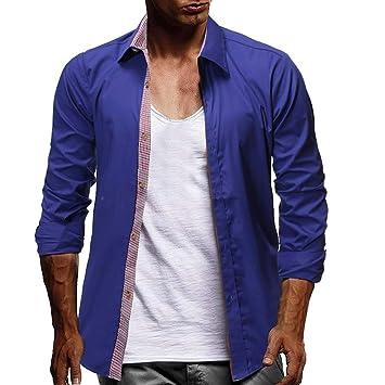 Leadmall Men T-Shirts Blusa de Cuello Abierto para Hombre, Casual ...