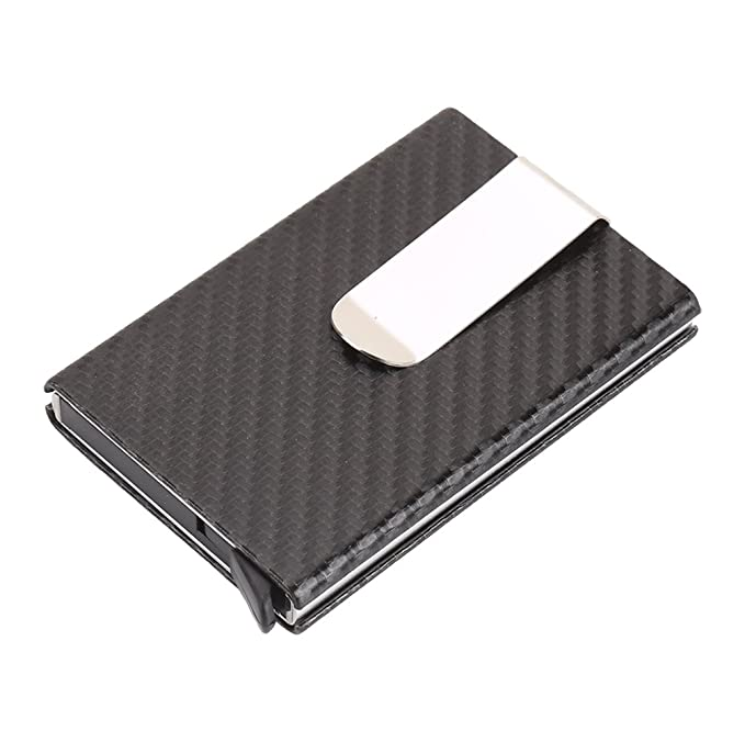 146c8c5d8675 Carbon Fiber Pop Up Wallet Mens Card Case RFID Money Clip Cool Card Holder  (Black