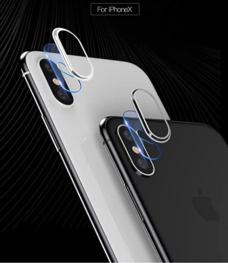sports shoes 98c0e b6a1a iPhone X Back Camera Lens Tempered Glass Protector and Camera Lens  Protector Plating Aluminum for Apple iPhone X (Matte Black)