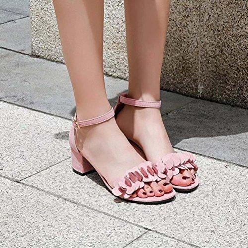 Damen Sandalen,Sannysis Damen Block High Heel Sandaletten Blumen Adorn Schnalle High Heels Schuhe/Mikrofaser-Leder Schuhe Rosa
