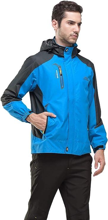 resistente al viento donhobo Chaquetas para hombre con capucha y bolsillos con cremallera impermeable chaqueta de esqu/í softshell