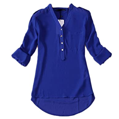 d35c5be796ff Malloom® Frauen V-Ausschnitt Chiffon Langarm Casual Hemd Bluse (Man Kann  mehre Danmen Kleid Rock Hose Mantel Schal Sock Handschuhe Schuhe  unterwäsche ...