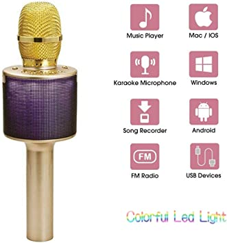 Micrófonos Inalámbricos,Portátil Micrófono Inalámbrico Con Linterna Micrófono Karaoke Canción Dorada Del Teléfono Inalámbrico K Micrófono Karaoke Bluetooth KTV Karaoke Para Casa Móvil (Color : Gold) : Amazon.es: Electrónica