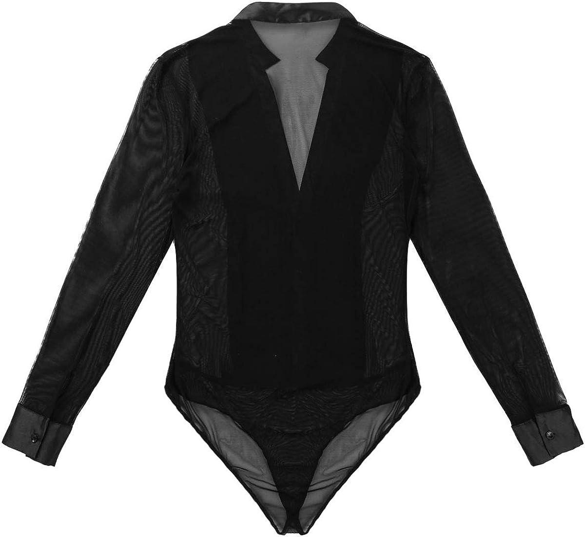 ranrann Camisa de Baile Latino para Hombre Body Manga Larga Cuello en V Profundo Bodysuit de Malla Baile de Sal/ón Leotardo Danza Samba Rumba