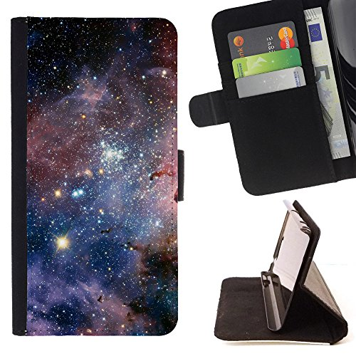 God Garden - FOR Apple Iphone 5C - Carina Nebula - Glitter Teal Purple Sparkling Watercolor Personalized Design Custom Style PU Leather Case Wallet Fli
