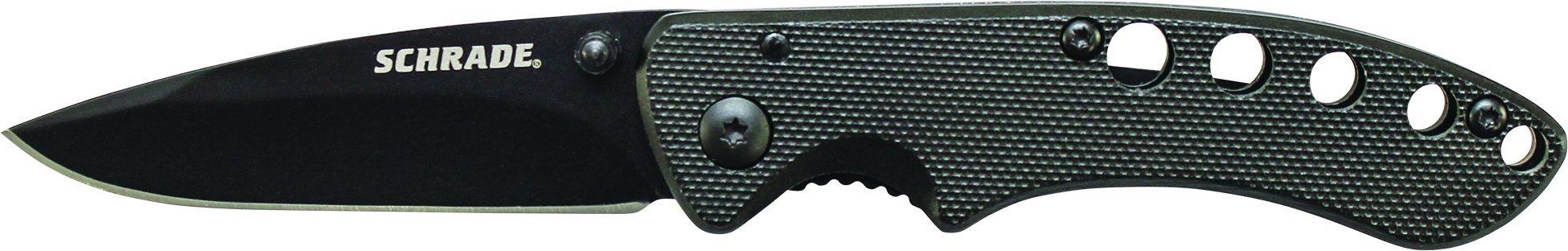 Schrade SCH107ALBK Liner Lock Folding Knife Drop Point Blade Black Aluminum Handle by Schrade (Image #2)