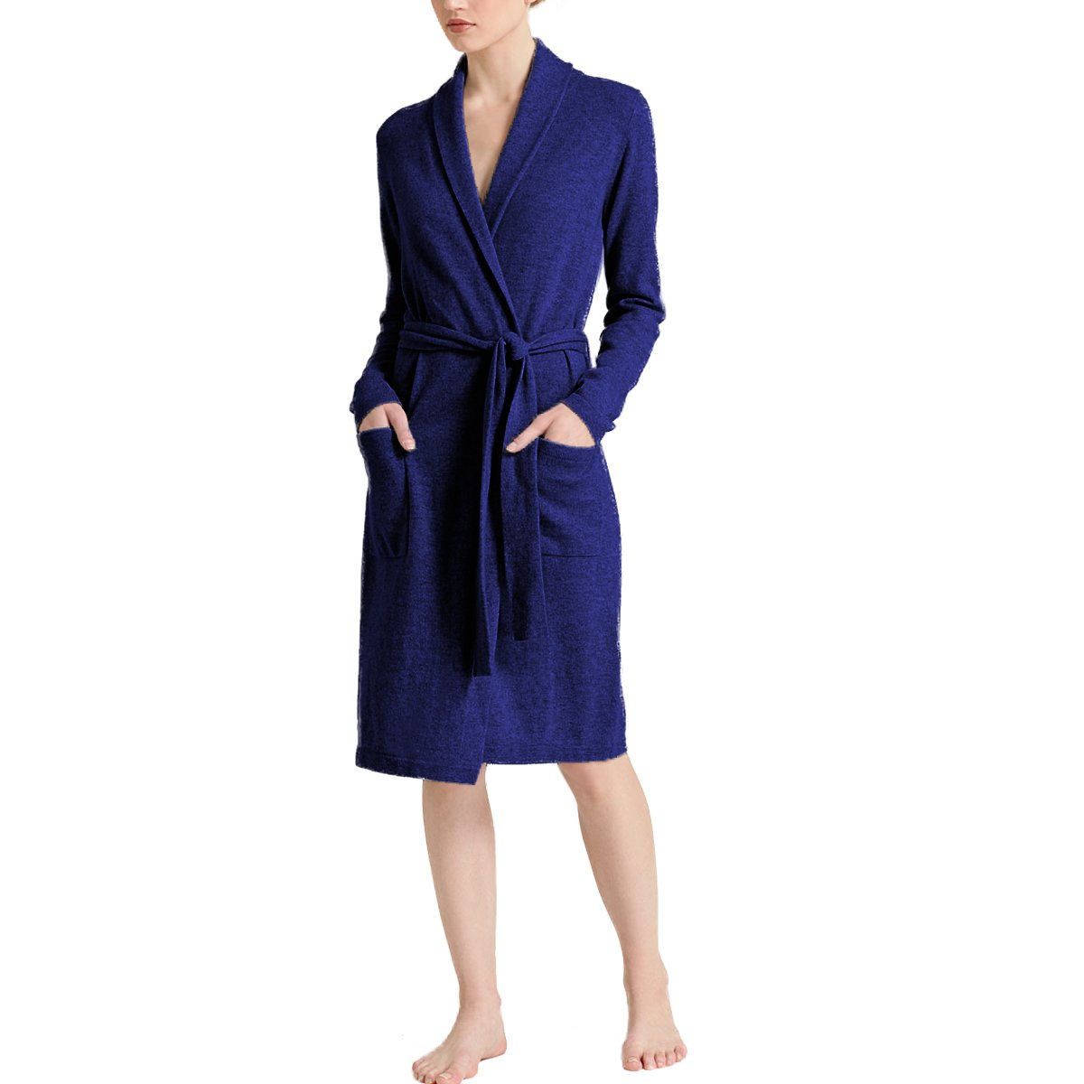 Parisbonbon Women's 100% Cashmere Shawl Collar Robes Color Dark Blue Size S