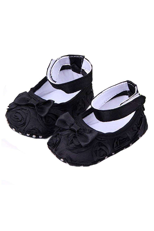 SODIAL Bebe fille Confortable Antiderapantes Chaussures de princesse pour le tout-petit (6-12 mois, noir)