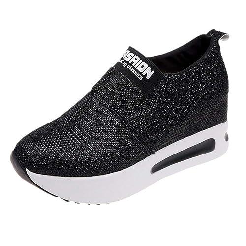 Fannyfuny Damen Turnschuhe Faule Schuhe Plateau Sneaker