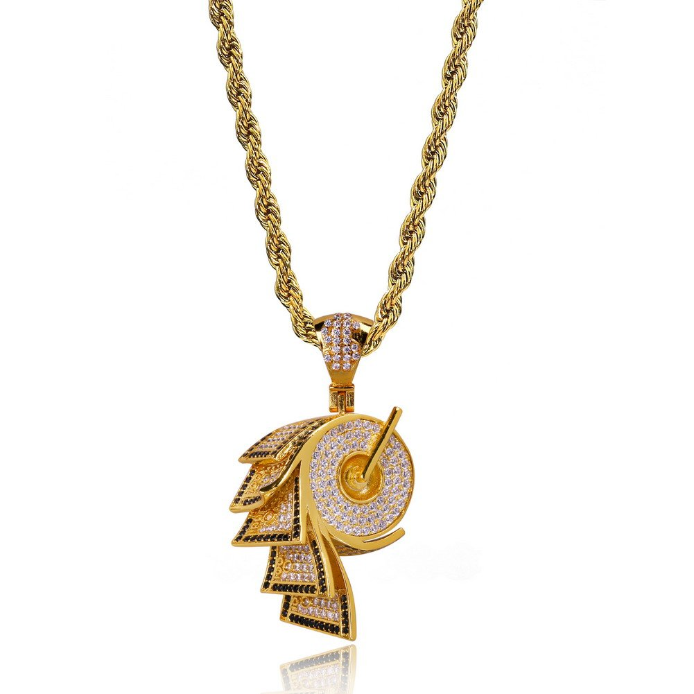 JINAO 18k Gold Plated ICED Out Toilet Roll Dollar Sign Pendant Necklace by JINAO (Image #2)