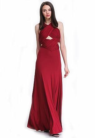 e44dee5e4c Sheinside® Women's Wine Red Backless Maxi Dress (S, Red): Amazon.co ...