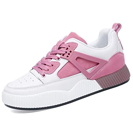 YXB Womens Sneakers New Spring Leather Platform Shoes Low-Top Casual Shoes Outdoor Athletic Shoes Training Shoes,A,34