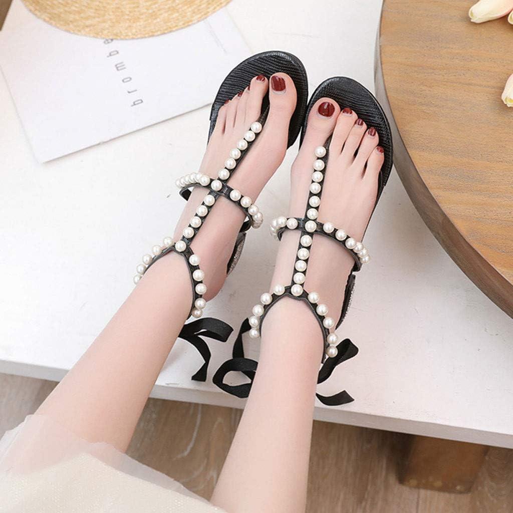 XLnuln Fashion Womens Sandals Pearl Boho Rhinestone Clip Toe Sandals Lace-Up High Heels Beach Casual Shoe