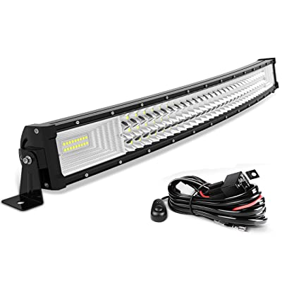 "AUTOSAVER88 32"" LED Light Bar Triple Row Curved Flood Spot Combo Beam Led Bar 378W Off Road Driving Lights with Wiring Harness Compatible with Jeep Trucks Boats ATV Jeep: Automotive"