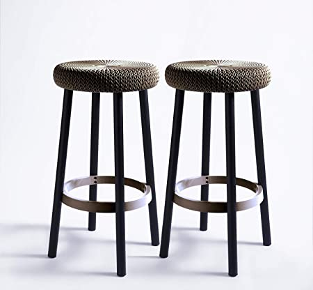 Amazon.com : Keter Cozy Knit Outdoor Counter Height Bar Stools ...