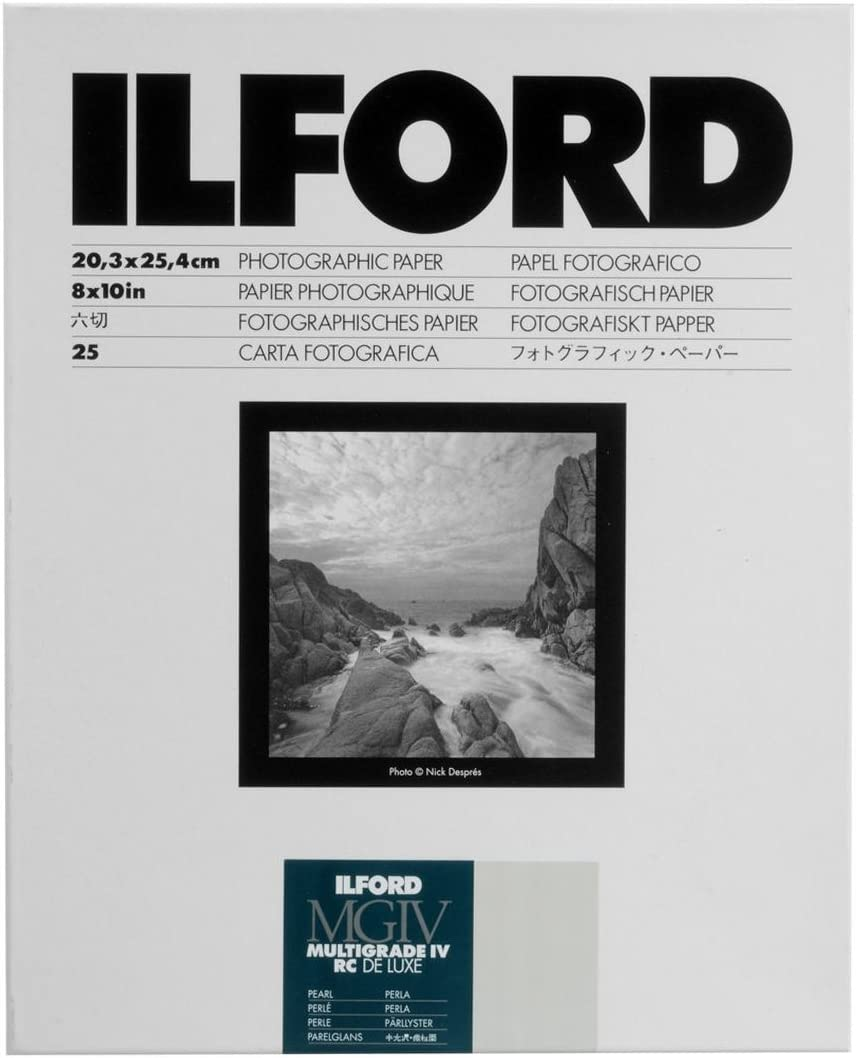 "Ilford Multigrade IV RC Deluxe Resin Coated VC Variable Contrast Black & White Enlarging Paper - 8x10"" - 25 Sheets - Pearl Surface"