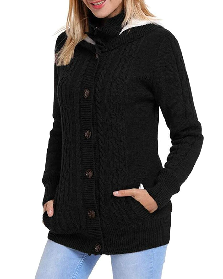 Black pujinggeCA Womens Cable Knit Sweaters Button Hooded Cardigan Coats with Pockets