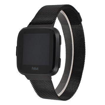 YAOkxin Compatible Bandas reemplazo para Fitbit Versa Reloj Inteligente Mujeres Hombres, Milanese Loop Acero Inoxidable Metal Deporte Pulsera Correa imán ...