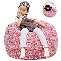 Great Eagle 38X38 Inches Extra Large 100% Cotton Canvas Kids Stuffed Animals Toys Stroage Bean Bag Chair Cover Only, Stuffed Animals Organizer for Kids