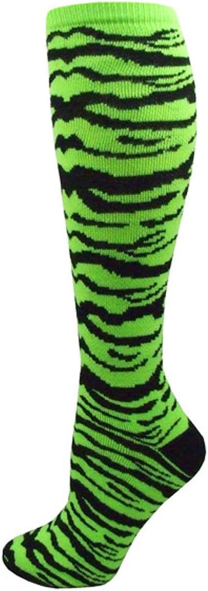 Red Lion Safari Knee-high Sock White//Neon Green - Medium