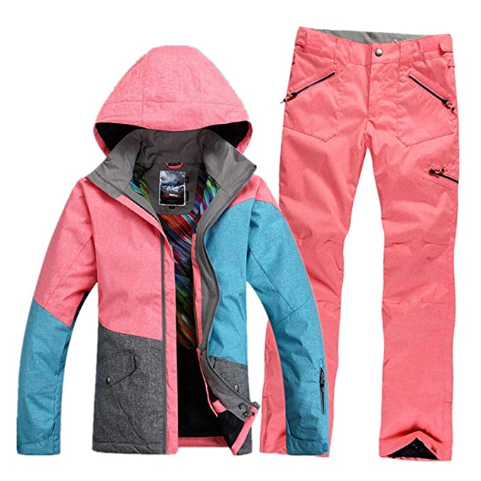 a4ec147082 GS SNOWING Women s Waterproof Windproof Snowboard Suit Ski Jacket and Pants  (Pink