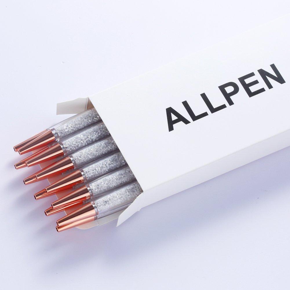 ALLPEN 12Pcs Rose Gold Pen Bling Diamond Crystal Pens Black Ink Metal Ballpoint Rhinestone Pen for Gift or Office Supplies by ALLPEN (Image #7)