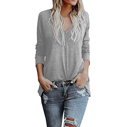 8bea54c94a DIMANUL Sweater Womens Waffle Tunic Knit Blouse Tie Knot Henley Tops Long  Sleeve Loose Fitting Button Henley Shirts at Amazon Women s Clothing store