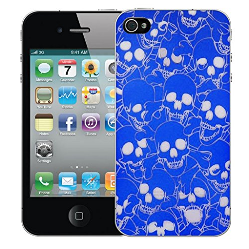 iphone 4 4s Dur Coque couverture Pare-chocs Case Cover - bleu multi skull conception par Mobile Case Mate