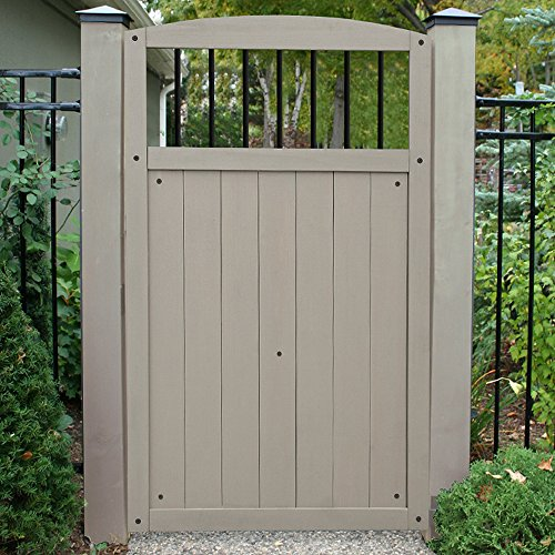 Yardistry Gate with Black Baluster Inserts, 42-Inch by 68-Inch, Gray by Yardistry