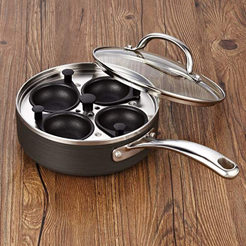 5 Piece Silver Black Egg Poacher Pan Grey Cook Wear Breakfast Poached Eggs Poacher Benedict Nonstick Dishwasher Safe Culinary Cooking Cookwear Solid Sturdy Dinner Lunch, Stainless Steel by MISC (Image #3)