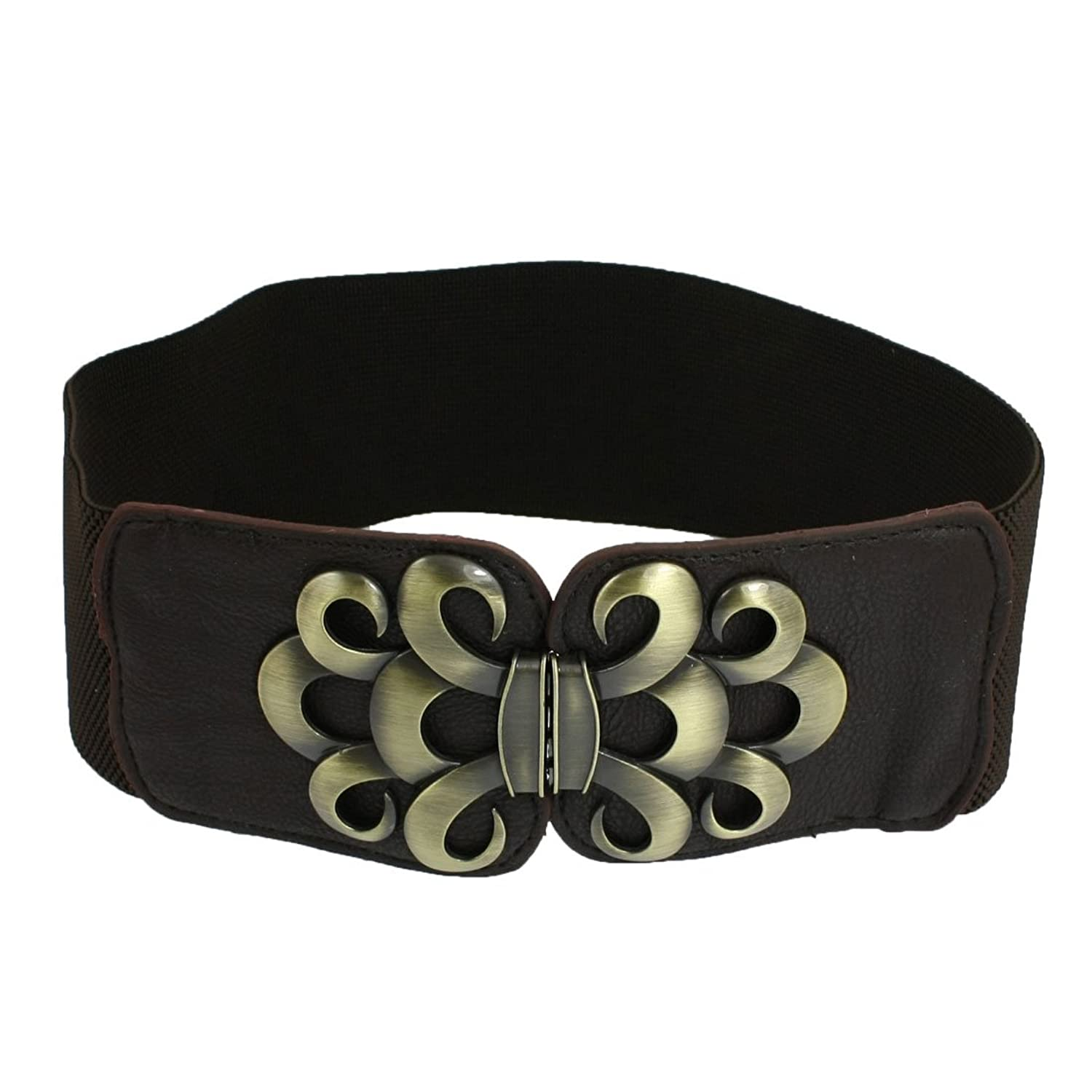 Lady Faux Leather Metal Interlock Buckle Elastic Waist Belt Cinch