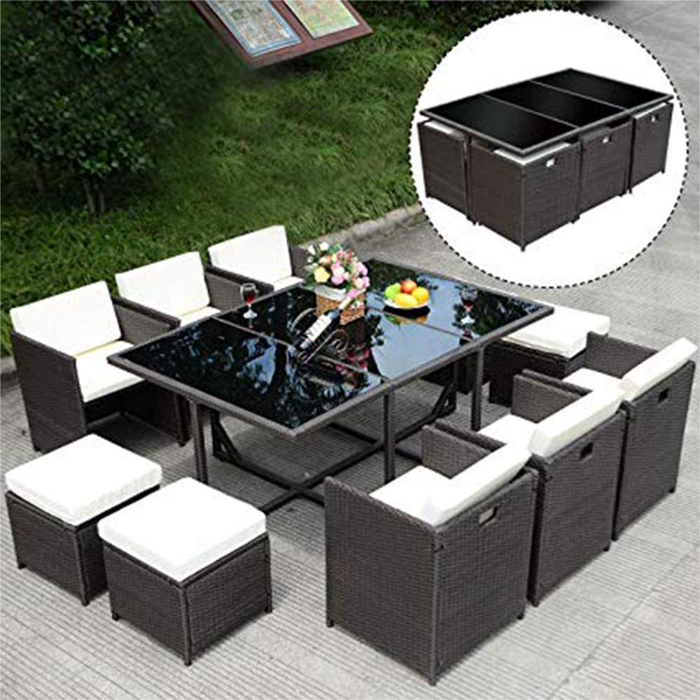 11 PCS Outdoor Patio Dining Set Metal Rattan Wicker Furniture Garden Cushioned 61UruC1Cm0LSL1000_