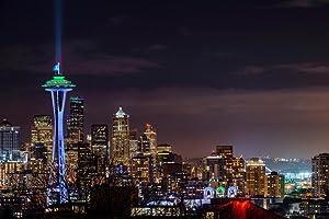 Illuminated Cityscape Seattle Washington Photo Photograph Cool Wall Decor Art Print Poster 36x24