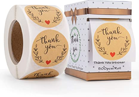 500Pcs//roll Christmas Kraft Paper Stickers Package Box Thank You Label Sealing