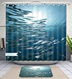 Amavam Bathroom 2-Piece Suit Mackerel School Feeding Shower Curtains And Bath Mats Set, 60'' Wx72 H & 23'' Wx16 H