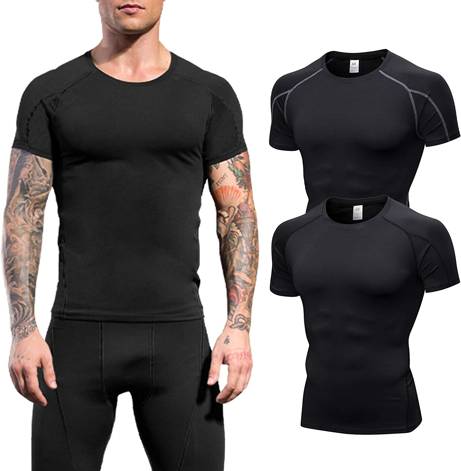 LEICHR Mens Compression Short Sleeve Shirts Sports Baselayer Cool Dry Workout Shirts