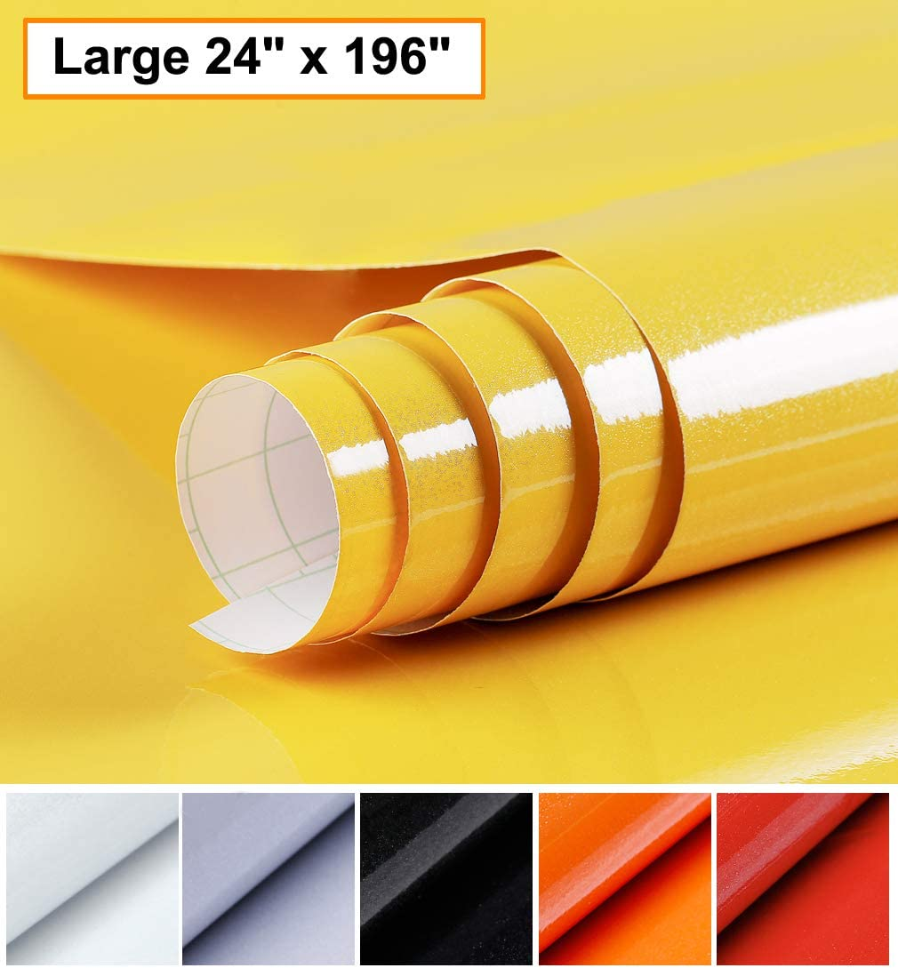 Oxdigi Yellow Contact Paper Decorative for Countertops Cabinets Shelves Glossy Self Adhesive Film Peel and Stick Waterproof Wallpaper 24 x 196 inches (Pearlescent Glitter)