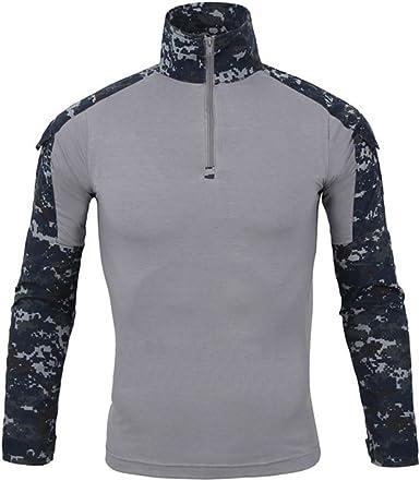 Hombres Airsoft Militar Táctico Camisa Largo Manga Camuflaje Combate BDU Camo Camisetas con Cremallera Azul Marino Large: Amazon.es: Ropa y accesorios
