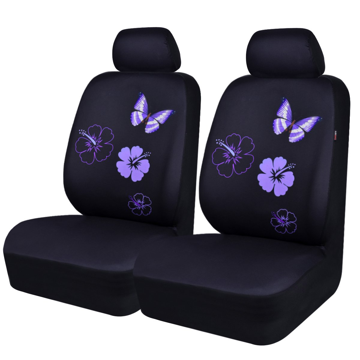 NEW ARRIVAL- CAR PASS Flower And Butterfly Universal Car Seat Covers,Perfect Fit Suvs,sedans,Vehicles,Airbag Compatible (2Front seat covers, Black and Pink color)