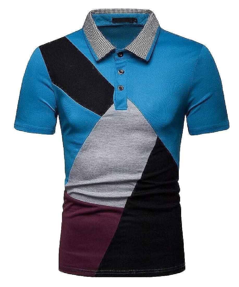 pipigo Mens Summer Short Sleeve Lapel Spell Color Slim Fit Polo Shirt