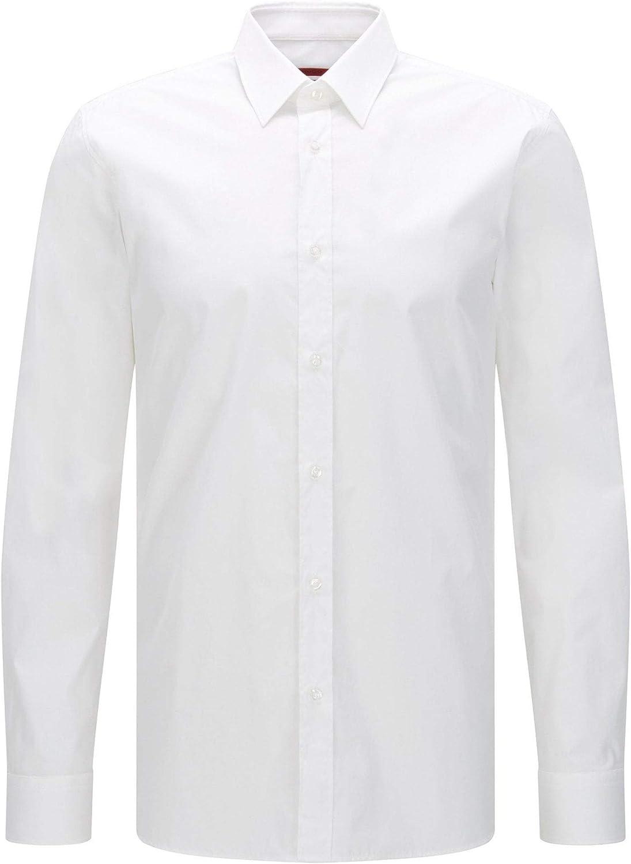 HUGO Boss Elisha01 50408298 - Camisa de Manga Larga, Color Blanco ...