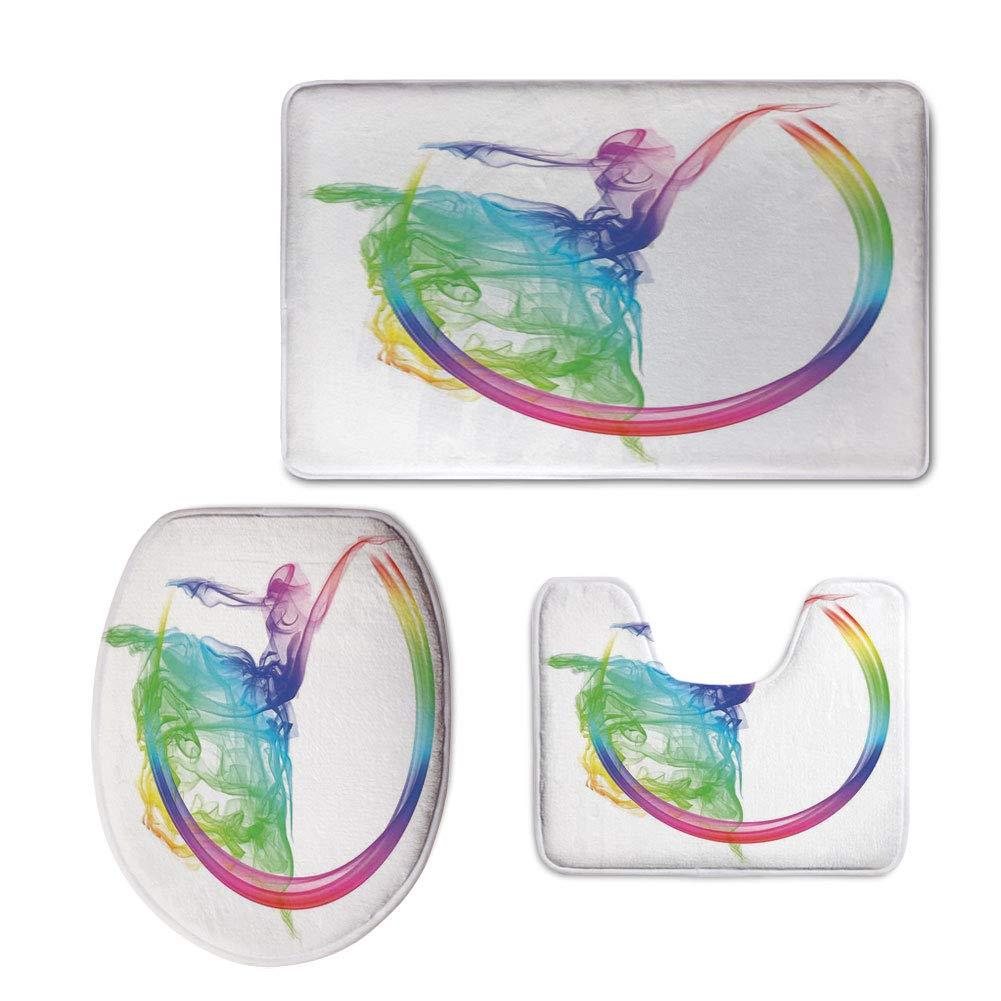 iPrint Fashion 3D Baseball Printed,Abstract Home Decor,Smoke Dance Shape Silhouette of Dancer Ballerina Rainbow Colors Fantasy Decorative,U-Shaped Toilet Mat+Area Rug+Toilet Lid Covers 3PCS/Set