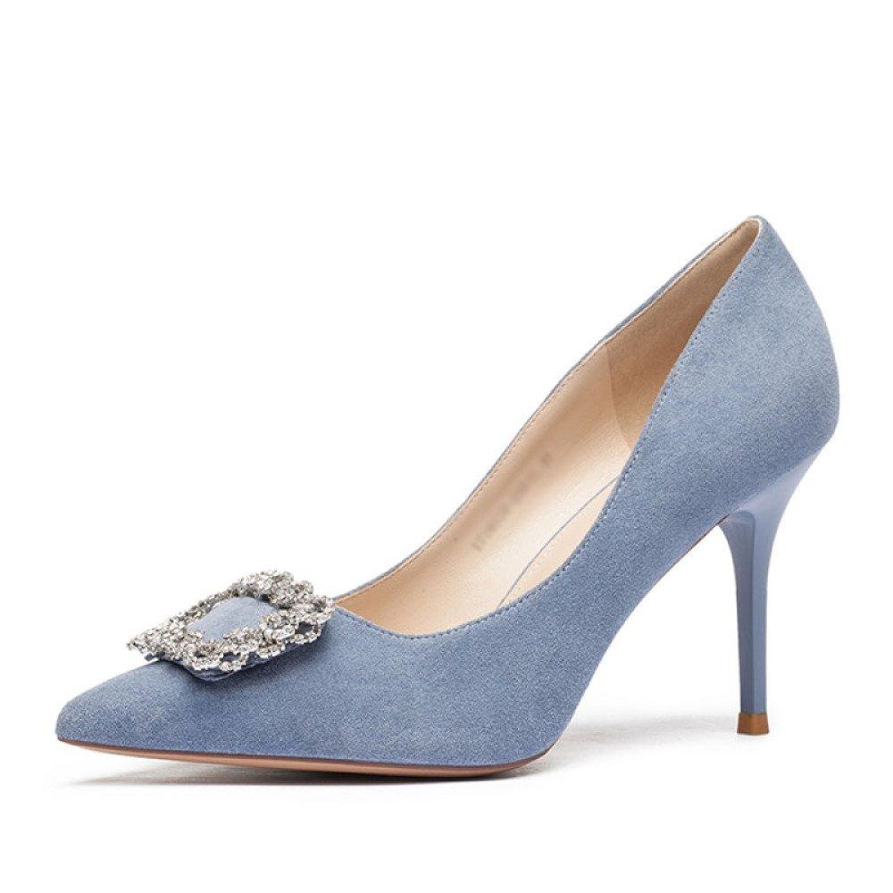 Ladys Fashion Décolleté Business Stiletto Scarpe Scarpe Scarpe A Punta di Ladys Eleganti Scarpe da Sera Rosa Blu Nero  blu 8ee317