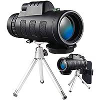 Monocular Telescope, 40x60 High Powered Monocular with Smartphone Adapter & Tripod for Bird Watching (Balck)