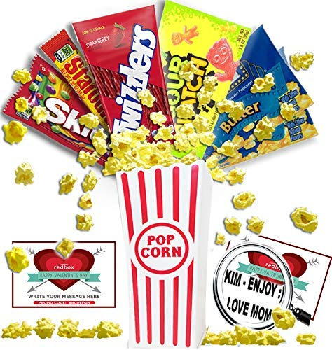 Personalized Happy Valentines Day Movie Night Gift Basket~Butter Popcorn, Concession Stand Candy, 2 Customized Gift Cards for Free Redbox Movie Rentals, With Your Personal Love Message Written On -