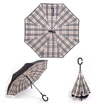 b2b52d721a1f YoCozy Inverted Umbrella Windproof Golf Reverse Umbrella Travel Sun Rain  Plaid