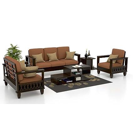 Funterior 3 2 1 Italian Wooden Fabric Sofa Set Pastel Brown Standard Size